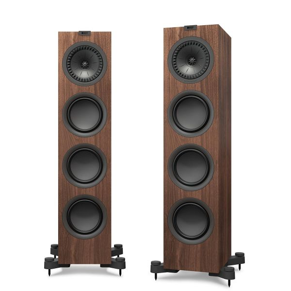 KEF Q750 Floorstanding loudspeaker for stereo music and home theater in walnut.