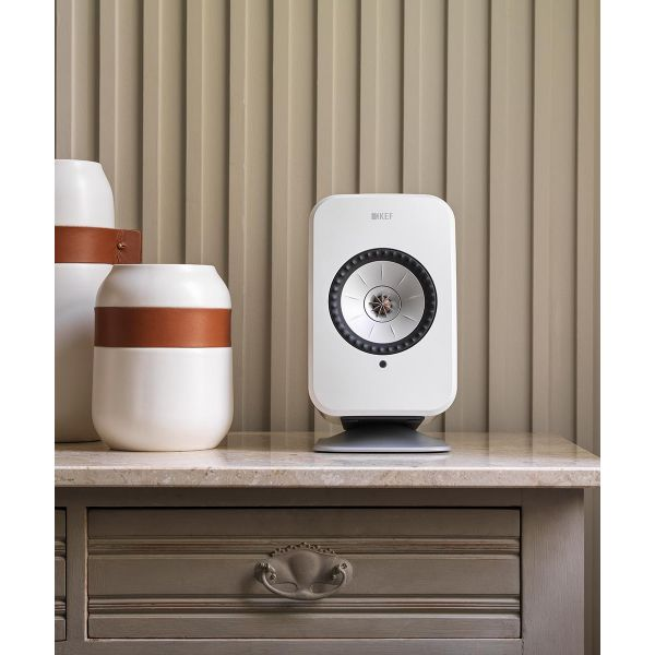 Wireless KEF LSX Speaker stand in white with white speaker. Dresser top speaker stands.