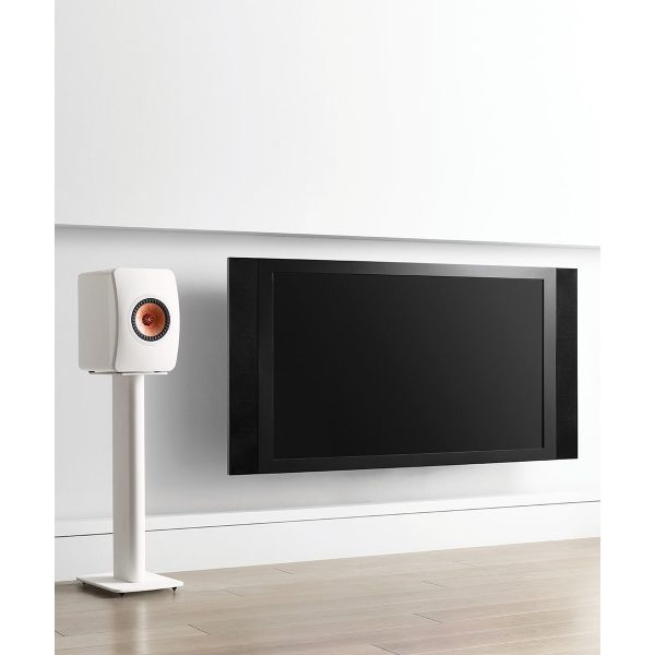 KEF Performance Speaker Stand White Lifestyle 2