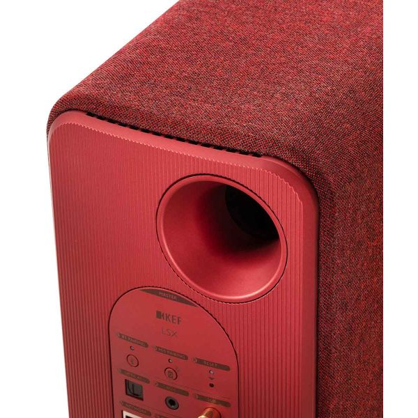 KEF LSX Wireless Stereo Speakers in Red inputs back panel.