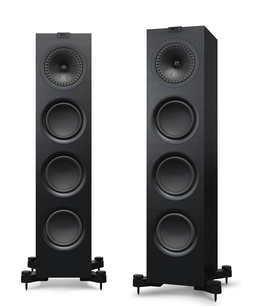 KEF Q750 Floorstanding Loudspeaker for stereo music and home theater in black.