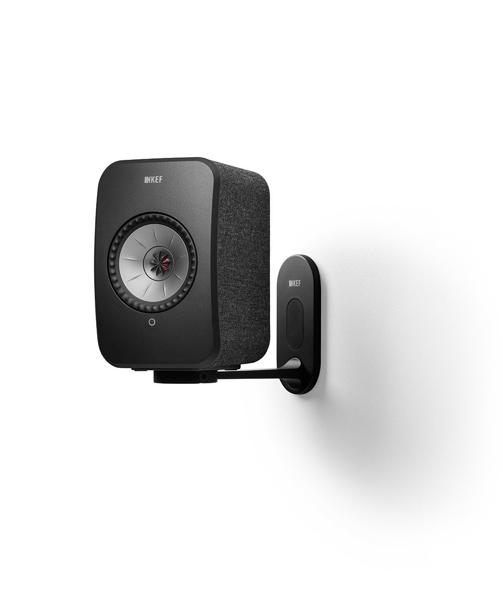 KEF LSX Wireless Speaker Wall Bracket in black with black speaker.