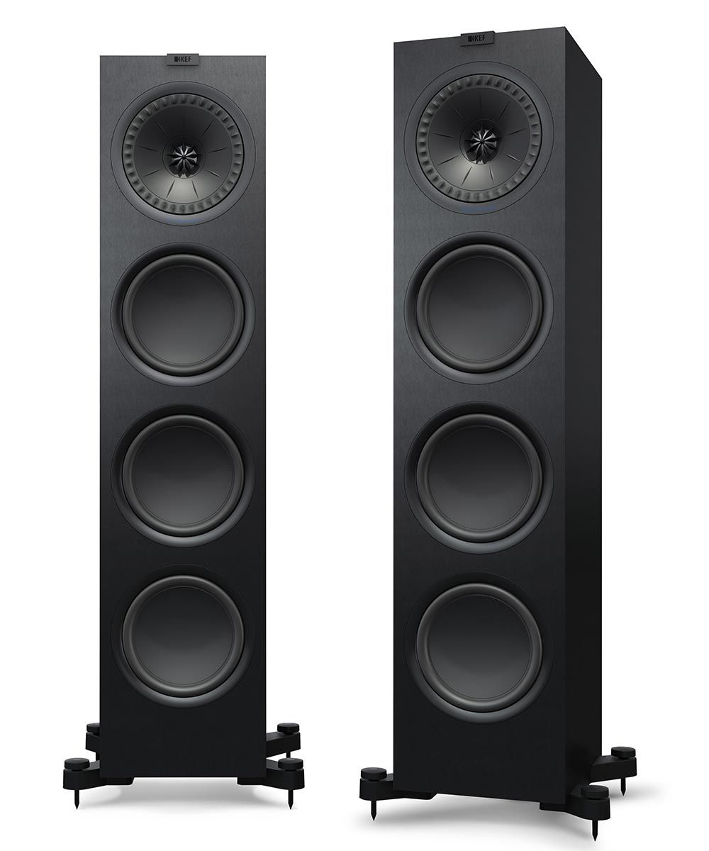 KEF Q950 Floorstanding Loudspeaker for stereo and home theater in black.