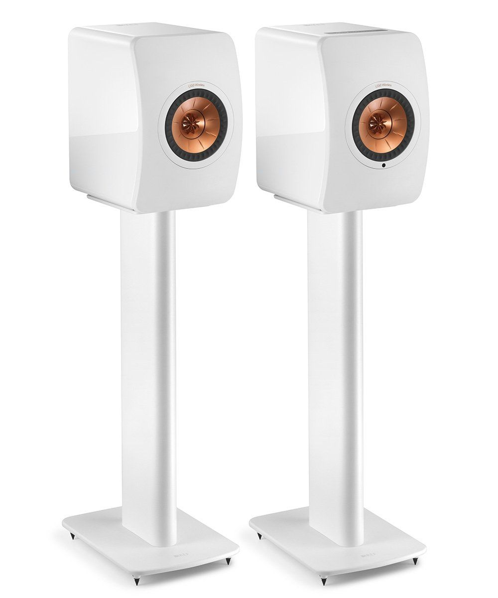 KEF Performance Speaker Stand White Pair Front