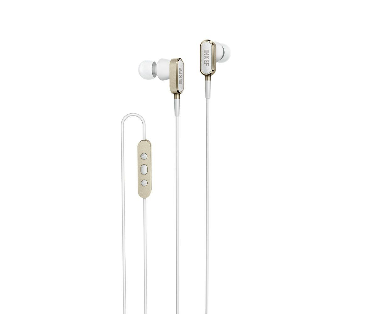 KEF M100 In-Ear Headphones in Champagne Gold