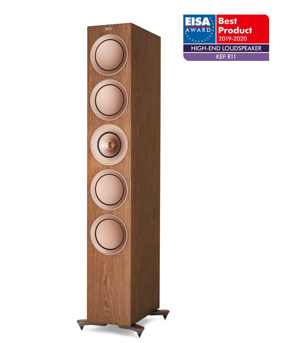 KEF R11 Floorstanding speaker, Best Product 2019-2020 EISA Award winner in Walnut.