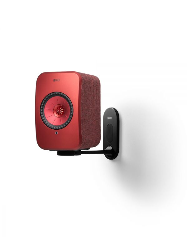 KEF LSX Wireless Speaker Wall Bracket in black with red speaker.