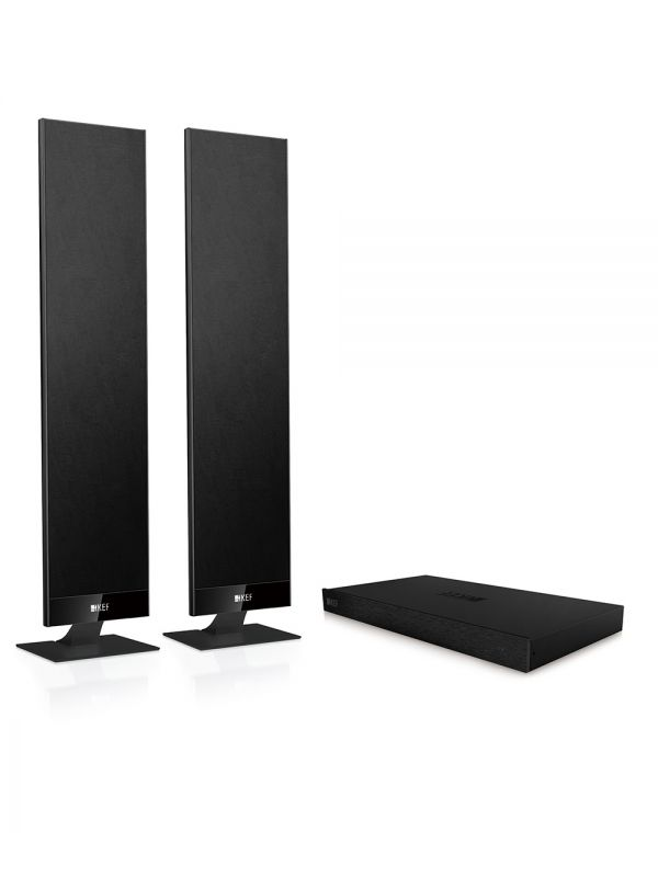 KEF V300 are the best powered ultra-thin tv speakers.