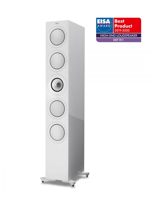 KEF R11 Floorstanding speaker, Best Product 2019-2020 EISA Award winner in White.
