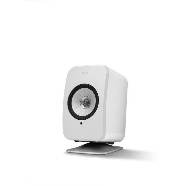 KEF LSX Wireless Speaker Desk Stand in White.