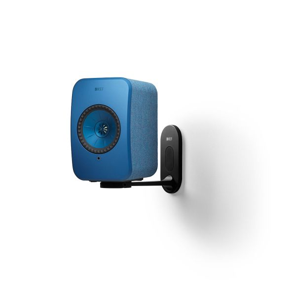 KEF LSX Wireless Speaker Wall Bracket in black with blue speaker.