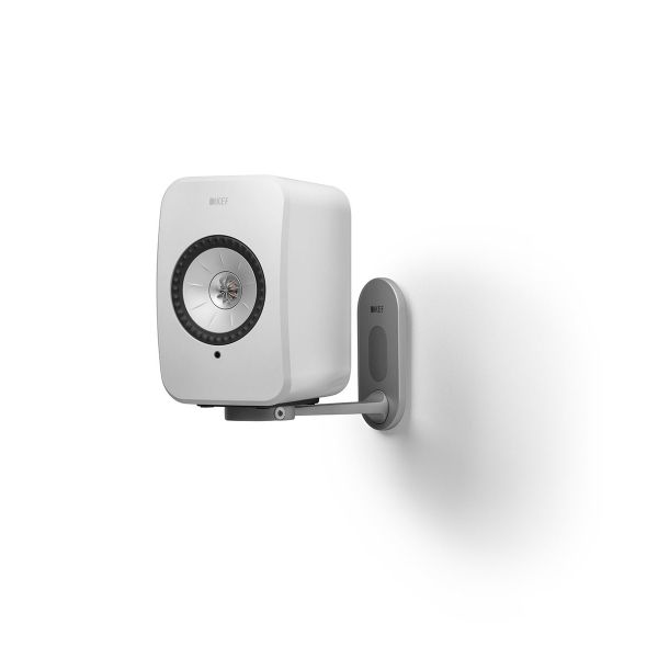 KEF LSX Wireless Speaker Wall Bracket in white with white speaker.