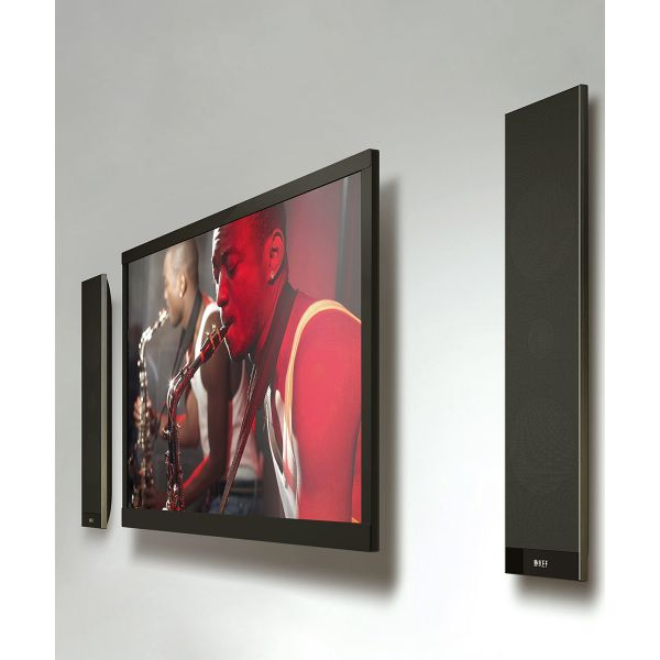 KEF V300 Ultra-thin powered tv speakers can be wall mounted to match your flat screen television.