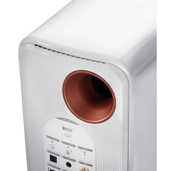 KEF LSX Best Wireless desktop stereo speakers in gloss white, inputs, back panel.