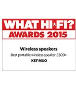 KEF Muo Receives best portable wireless speaker award £200 and up.