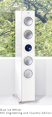 KEF REFERENCE Series speakers in high gloss Foundry Edition Ice White and Electric Blue